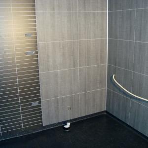 Belegg på gulvet og baderomsplater på vegger. Eget mønster i dusjsone.