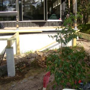 Starten på ny terrasse som bygges utenfor den eksisterende.