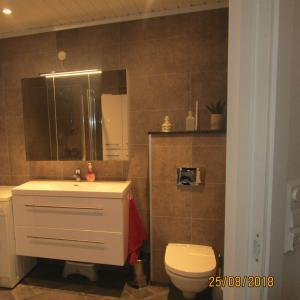 Ferdig bad sett fra døra. Badet har baderomsplater på vegger, belegg på gulv og hvitmalt furupanel i taket.