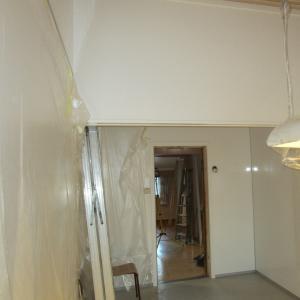 Kjøkkenrom med glatte hvite plater på alle vegger. Dør til naborom.